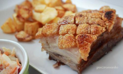 Bőrös sült császárhús sült burgonyával, coleslaw salátával recept