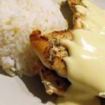 Grillezett csirkemell mustármártással, párolt rizzsel recept