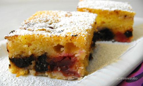 Túrós-csokis-meggyes sütemény recept