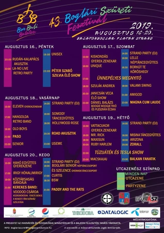 43. Boglári Szüreti Fesztivál 2019 - teljes program