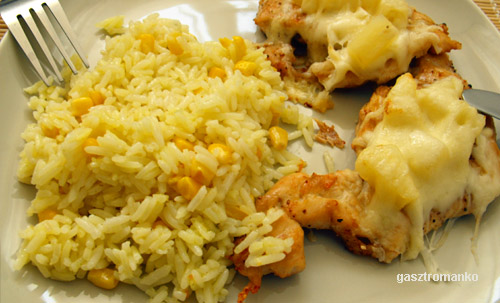 Ananászos csirkemell kukoricás rizzsel recept
