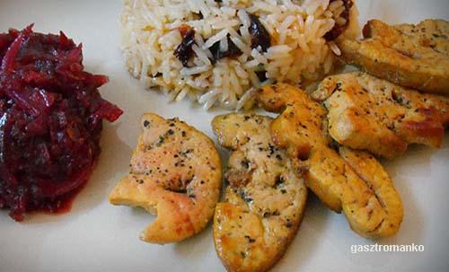 Sült libamáj lilahagymalekvárral, aszalt szilvás rizzsel recept