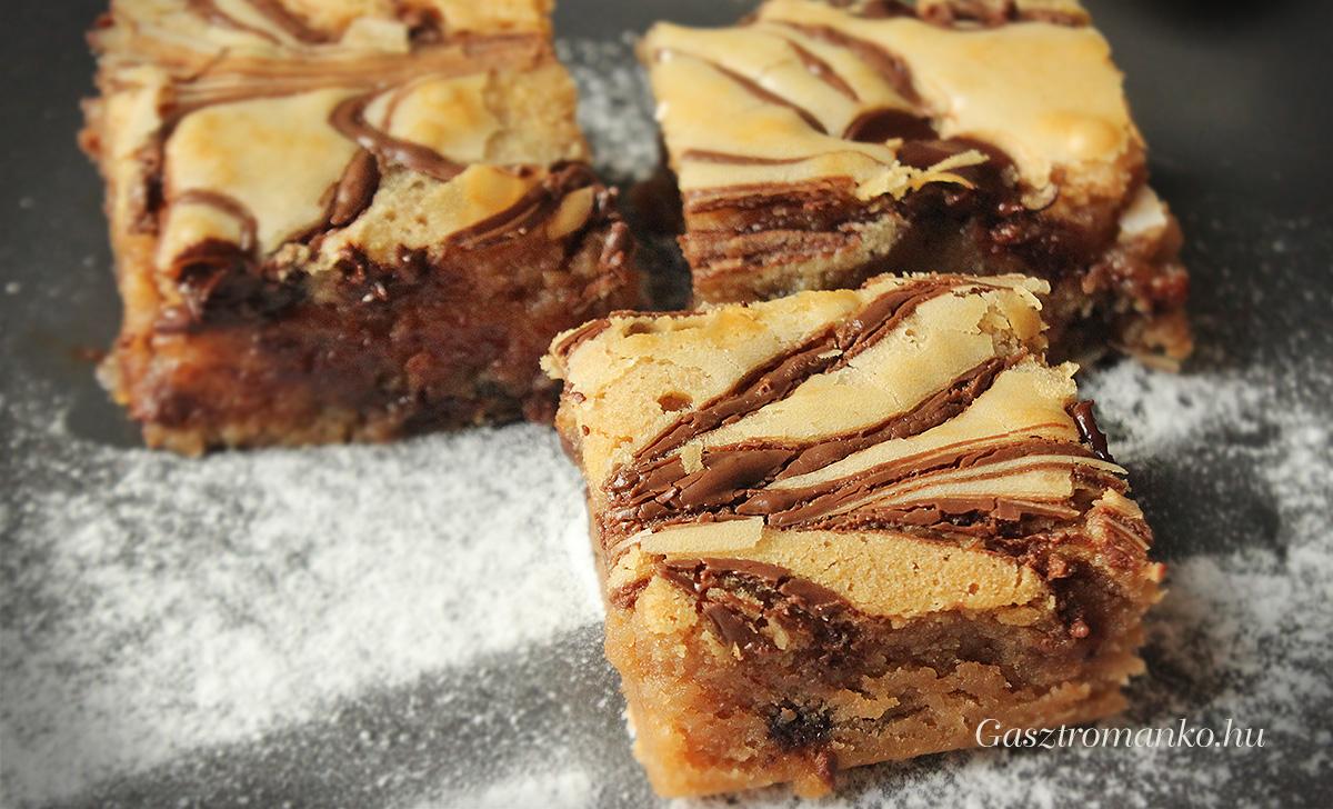 Szőke brownie csokichips-szel recept