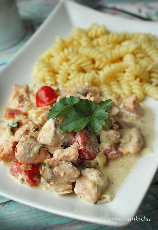 Tejszínes chilis lazacragu recept